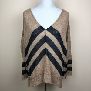 Free People chevron Black and Tan sweater medium